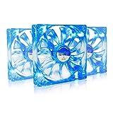 AAB Cooling Super Silent Fan 14 Blue LED - Una Silenziosa e Molto Efficiente 140mm Ventola per Case PC | Ventola Aspirazione | Ventola 12V | Cooling Fan | 14cm | 3 Pin Ventilatore - Set di 3 Pezzi