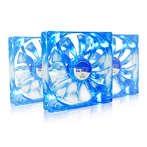 AAB Cooling Super Silent Fan 14 Blue LED - Leise und Efizient 140mm PC Lüfter mit 4 Anti-Vibration-Pads und Blauer LED - CPU Kühler | PC Ventilator | Kühlung | Lufter - Wertpaket 3 Stück