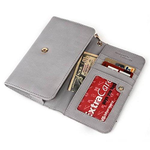 Kroo Pochette en cuir véritable pour téléphone portable pour unnecto Air 5,5 Violet - violet Gris - Gris
