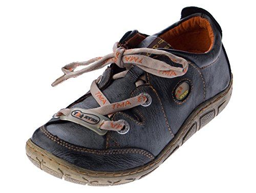 Damen Leder Halb Schuhe Comfort Sneakers Schwarz Grün Rot Grau Weiß Used Look Turnschuhe TMA Eyes Schwarz, Grau, Blau
