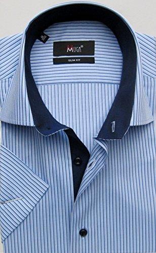 MUGA -  Camicia classiche  - Basic - Maniche corte  - Uomo Mittelblau