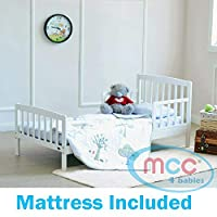 MCC White Solid Wooden Junior Toddler Kids Bed Montana with Foam Mattress (Mattress Size: 140 * 70cm)