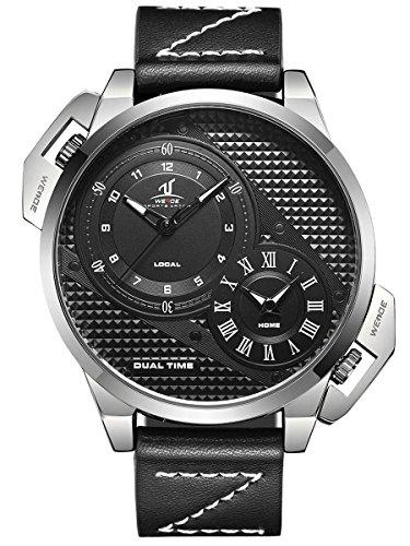 Alienwork Herren-Armbanduhr Quarz Silber mit Lederarmband schwarz XXL Oversized
