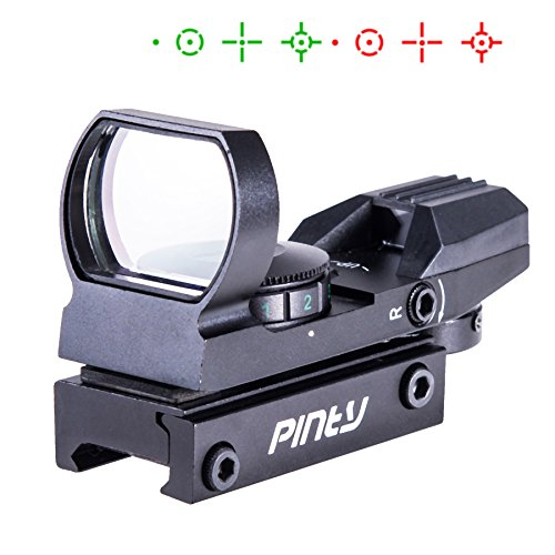 Pinty Rot Grün Dot Reflex Sight Leuchtpunkt Laser Zielvisier Holographic Scope Red Green Dot Sight 4 Reticle Patterns Scope für Jagd schwarz