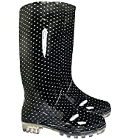 Ladies Womens Wellies Snow Rain Festival Wellington Boots Size UK 4, 5, 6, 7 (BLACK SPOT-7)