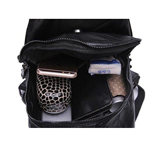 Z&N High Fashion Nieten Frauen Schultertasche die ganze Schaffell Rucksack diagonal Kreuz Handtaschen geeignet für Freizeit Shopping Outdoor Hochzeit Schule black