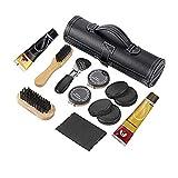 Set per la pulizia delle scarpe, 8 pezzi, in pelle, portatile, per il viaggio o l'uso domestico.