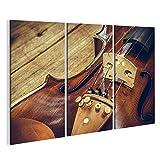 islandburner Bild Bilder auf Leinwand Kunst. Nahaufnahme von Alten hölzernen Violine Saiteninstrument auf Alten Holztisch. Klassische Musik. Wandbild, Poster, Leinwandbild ESU
