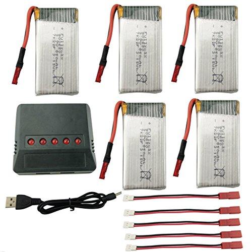 Fytoo Accesorios 5PCS 3.7V 850mah Lipo Batería con 5 en 1 Cargador para SYMA X56 X56W X54HW Plegable RC Quadcopter Drone Batería Repuestos