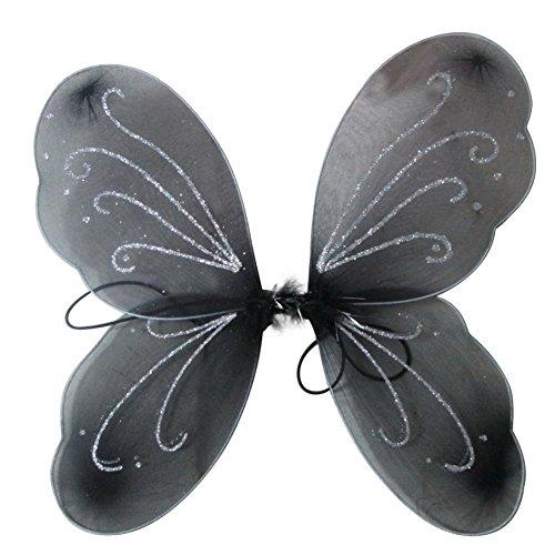 er Flügel Prinzessin Schmetterling Zauberfee Partei Halloween gillter Geburtstag Cosplay Zubehör Eine Größe Schwarz ()