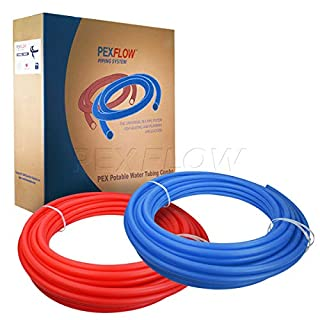 Pexflow PEX Potable Water Tubing Combo - PXKT-RB30012 1/2 Inch X 300 Feet Tube Coil for Non-Barrier PEX-B Residential & Commercial Hot & Cold Water Plumbing Application (1 Red + 1 Blue)