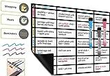 A3 Magnetisches Essensplaner Tafel von Plan Smart - Abwischbarer Menü Planer für Kühlschrank BONUS: 3 Magnetische Dry Erase Marker