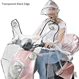Regenkleidung Motorrad Transparent Regenponcho Regenmantel Wasserdichte Regenjacke EVA Fahrrad Raincoat Regencape für Männer & Frauen(Schwarze Line, 3XL)