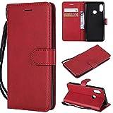 BoxTii Coque Xiaomi Mi A2 Lite, Etui en Cuir Flip Portefeuille Housse de Protection avec Gratuit Protection D'écran en Verre Trempé pour Xiaomi Mi A2 Lite (Rouge)