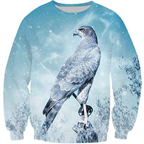 Mode Tier Schnee Hawk Tees 3D Print T-Shirt/Hoodie/Sweatshirt lässig lustige Tops Black Asian Size M (Cherokee Herren T-shirt Schwarz)