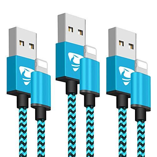 Aione [MFi Certificado Cable iPhone 2M [3 Pack] Cargador Trenzado de Nylon para iPhone X/XR/X MAX/8/8 Plus /7/7 plus/6s/6s plus/6/ 6plus/SE/5s/5c/ 5(Azul)