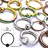 Soul-Cats® Piercing Piercing Ring clamp Ring Captive Bead Ball Ring Surgical Steel