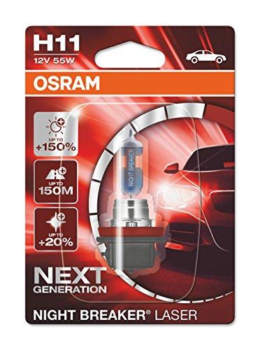 Preisvergleich Produktbild OSRAM NIGHT BREAKER LASER H11 next Generation, +150% mehr Helligkeit, Halogen-Scheinwerferlampe, 64211NL-01B, 12V PKW, Einzelblister (1 Lampe)
