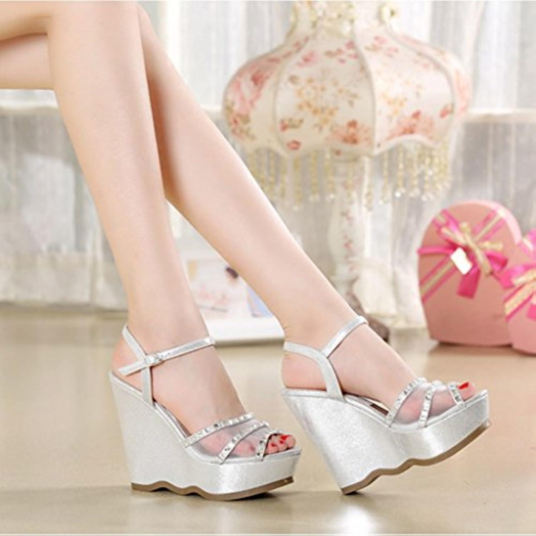 Ren Chang Jia Shi Pin Firm Sandalen Mädchen Schuhe Sandalen Sommer Steigung Sandalen Mode Mesh Strass Heels Heelsö