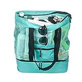Fency Beach Tasche Mesh 2-in-1-Tote Trinken Kühler Familie Schulter Handtasche Reißverschluss