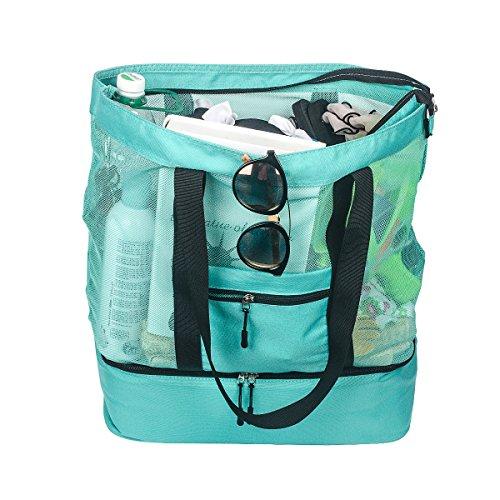 Fency Beach Tasche Mesh 2-in-1-Tote Trinken Kühler Familie Schulter Handtasche Reißverschluss Tote grün (Blau-volleyball-decke)