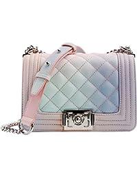 8caa652597790 GODW Womens Gesteppt Kettensack Regenbogenfarbe Fee Handtaschen Karo  Schultertaschen Party Geldbörse