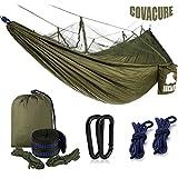 Camping Hamac Set avec Moustiquaire, 2 Sangles D'arbres Carabiners Cordes Double Portable Outdoor Léger Nylon Hamac pour Camping Randonnée Pédestre Jardin Voyage