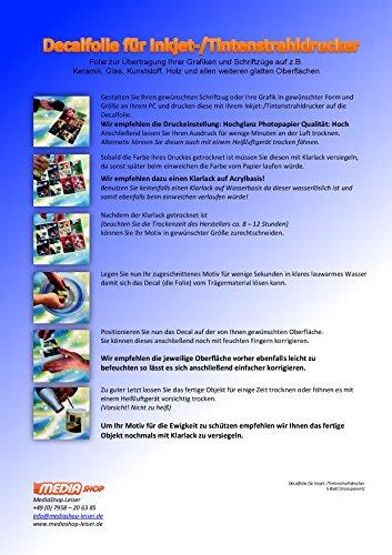 5 Blatt Inkjet Tintenstrahl Wasserschiebefolie Decal Papier Transfer Folie DIN A4 transparent