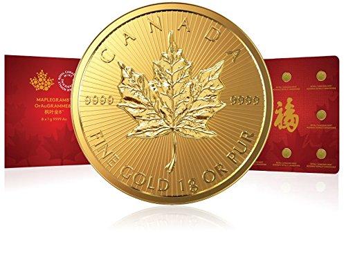 8 Stück Goldmünzen Maple Leaf Maplegram8 - 8x 1 Gramm 999.9 Gold - Im Blister mit Seriennummer verpackt