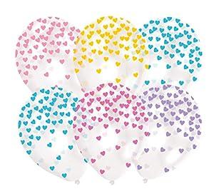 amscan 9903273 - Globos de látex con Forma de corazón (Colores Surtidos)