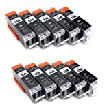 10 Multipack komp. XL Druckerpatronen für Canon Pixma MG7550 MG7150 MG6650 MG6450 MG6350 MG5655 MG5650 MG5550 MG5450s MG5400 MG5450 IP7250 IP8750 IX6850 MX725 MX925 kompatibel 10 x 550BK XL schwarz mit Chip