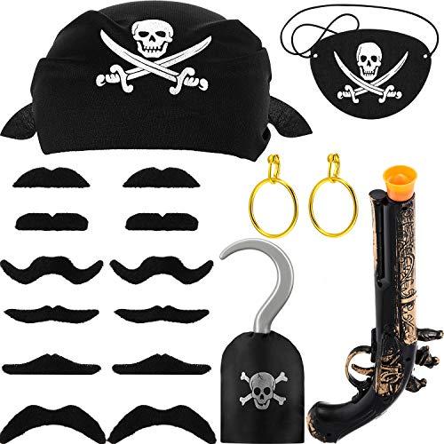 Schnurrbart Kostüm Piraten - 18 Stücke Piraten Zubehör Kostüm, Einschließlich Piraten Augenklappen, Piraten Bandana, Piraten Gold Ohrringe, Piraten Schnurrbart, Piraten Gewehr und Piraten Haken für Halloween Partyartikel