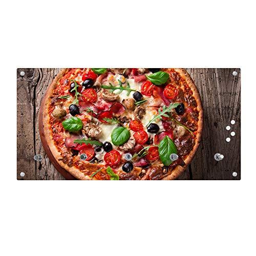 banjado Wandgarderobe aus Echtglas | Design Garderobe 80x40x6cm groß | Paneel mit 5 Haken | Flurgarderobe für Jacken und Mäntel | Garderobenleiste mit Motiv Pizza
