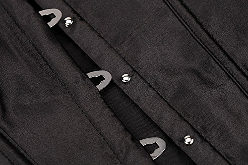 HLGO reizvolle Wäsche der Frauen schnüren sich oben Satin-entbeintes Korsett mit G-Schnur, 7 Farben, 9 Größe für Wahl Schwarz2