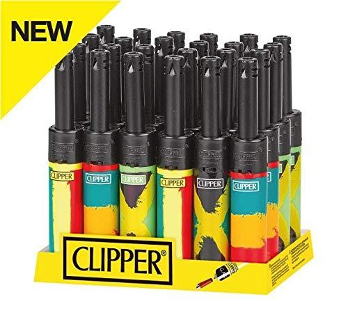 bong-discount Clipper® Classic Large nachfüllbare Feuerzeuge | 5 Stück | Mini Tube Rasta Flag (Flag Mini-rasta)