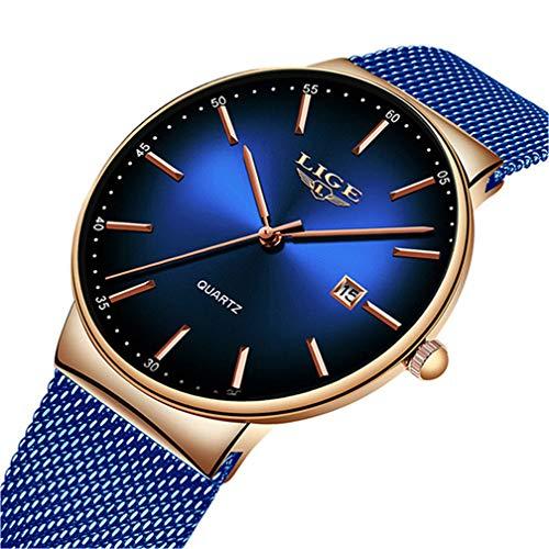 Orologi da uomo LIGE orologio da polso impermeabile ultra sottile blu da uomo Moda semplice orologio analogico al quarzoorologio acciaio uomo minimalista donna oro