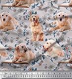 Soimoi Grau Samt Stoff Blumen, Buch & Golden Retriever Hund