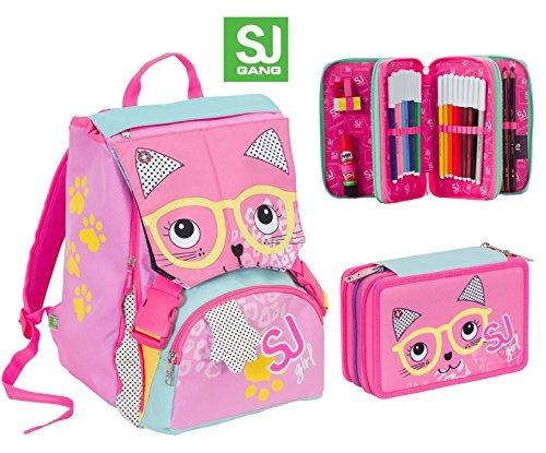 Zaino scuola sdoppiabile SJ GIRL ANIMALI - Rosa Azzurro - + Astuccio 3 zip - FLIP SYSTEM - 28 LT elementari e medie 3 pattine sfogliabili