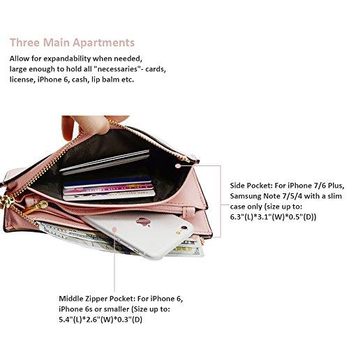 Befen pelle morbida Smartphone Zipper Wallet Organizer con il supporto della carta di credito / tasca contanti / Wristlet- [Fino a 6 x 3.1 * 0.3 pollici del cellulare] Black Rosa