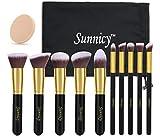 Kit de Pinceau maquillage Professionnel 10 PCS Ombre à Paupière Doré Blush...
