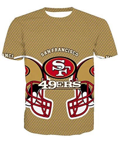 Männer 3D T-Shirt San Francisco 49ERS SF NFL Fußball Team Uniform Muster Digitaldruck Liebhaber Shirt(XXXL,Khaki)