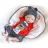 Decdeal Junge Reborn Baby Puppe Silikon Babypuppe 55cm Augen Schließen, Magnetisch Mund