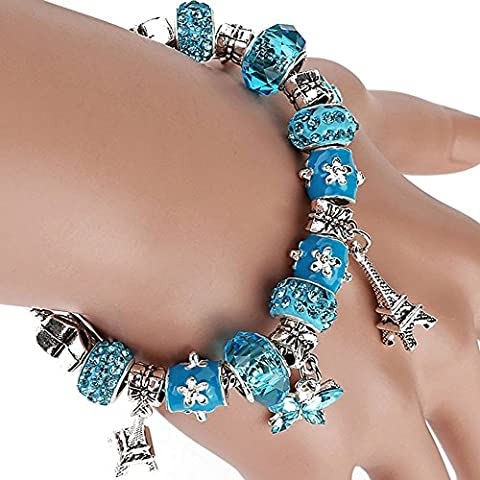 La noche estrellada de la torre Eiffel Mariposa Azul Colgante Aleación Perlas Pulsera de las