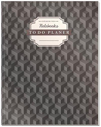 DÉKOKIND To Do Planer   DIN A4, 100+ Seiten, Register, Vintage Softcover   Dickes Checklisten Buch   Motiv: 3D Würfel