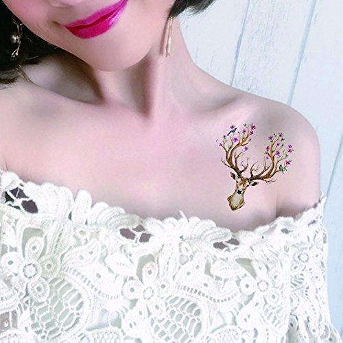 tafly-flower-deer-drawing-body-art-temporary-tattoo-animal-designs-waterproof-fake-tattoos-sticker-5
