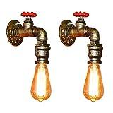 Fuloon 2 x Vintage Retro Wandlampe, Wasserrohr Metall Wandleuchte E27 Lampenfassung Halterung Industrielampe für Bar, Kaffee, Esszimmer, Schlafzimmer usw