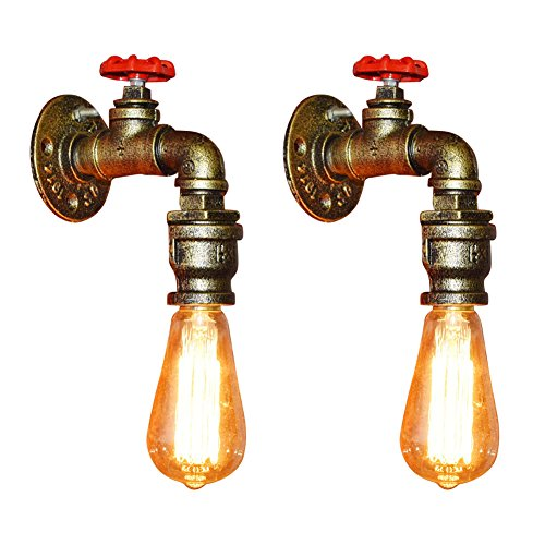 Fuloon 2 x Vintage Retro Wandlampe, Wasserrohr Metall Wandleuchte E27 Lampenfassung Halterung Industrielampe für Bar, Kaffee, Esszimmer, Schlafzimmer usw -