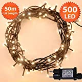 Fata luci di Natale 500 LED bianco caldo Albero luci Interni ed esterni uso memoria & timer funzioni, alimentazione 50 m piedi illuminata lunghezza- cavo di piombo verde