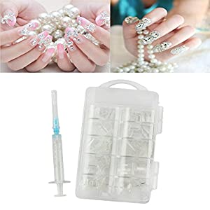 Generic white: Women' s Fashion Nail Water Injection Artificial Nail Hollow Fake Nail Stick Design Nail Inject