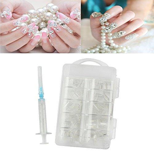 Generic white: Women' s Fashion Nail Water Injection Artificial Nail Hollow Fake Nail Stick Design Nail Inject